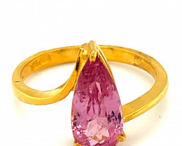 Tajik Spinel 2.74ct Solid 22K Yellow Gold Solitaire Ring      Size 8