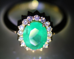 Tanzanian Emerald 1.43ct Natural Diamonds Solid 22K Yellow Gold Cocktail Ri