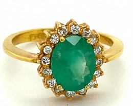 Tanzanian Emerald 1.43ct Natural Diamonds Solid 22K Yellow Gold Cocktail Ri