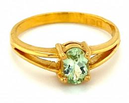 Merelani Mint Garnet .65ct Solid 22K Yellow Gold Ring    Size 8