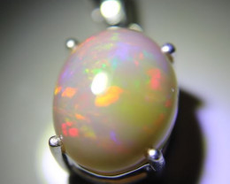 Opal 7.30ct Platinum Finish Solid 925 Sterling Silver Pendant