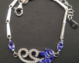 Natural Tanzanite with CZ Barcelet.