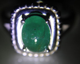 Emerald 2.80ct Platinum Finish Solid 925 Sterling Silver Ring    Size 9