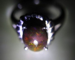 Chocolate Opal 3.05ct Platinum Finish Solid 925 Sterling Silver Ring     Si