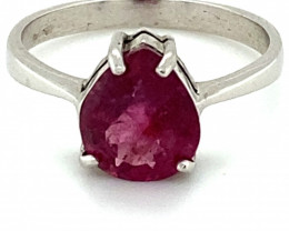 Rubellite 1.90ct Platinum Finish Solid 925 Sterling Silver Ring     Size 6
