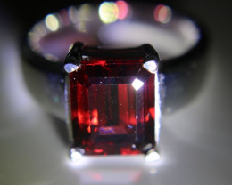 Pyrope Garnet 3.50ct Platinum Finish Solid 925 Sterling Silver Ring      Si