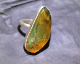 Exquisite Natural Clear Orange Green Amber .925 Sterling Silver Ring #7