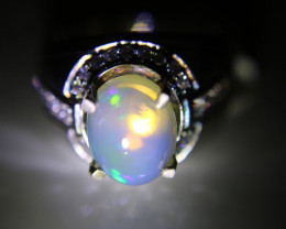 White Opal 3.22ct Platinum Finish Solid 925 Sterling Silver Solitaire Ring