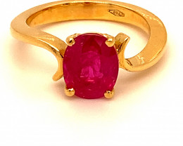 Burmese Ruby 2.85ct Solid 18K Yellow Gold Solitaire Ring Natural Untreated