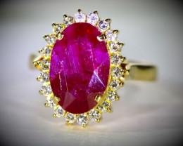 GIA Certified Longido Ruby 6.55ct Natural Diamonds Solid 18K Yellow Gold Co