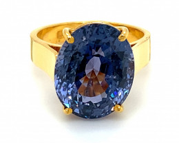 Color Change Spinel 14.00ct Solid 22K Yellow Gold Ring,GIA Certified