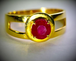 GIA Certified Ruby 1.38ct Solid 21K Yellow Gold Solitaire Ring,Untreated
