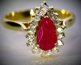 GIA Certified Ruby 1.89ct Untreated Natural Diamonds Solid 18K Yellow Gold