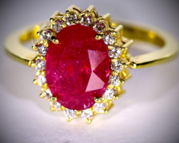 Winza Ruby 4.40ct Diamonds Solid 22K Yellow Gold Ring,Certified,Appraised,B