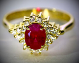 Certified Burmese Ruby 1.00ct Natural Diamonds Solid 18K Yellow Gold Ring