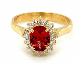 GIA Certified Red Mahenge Spinel 1.82ct and Natural Diamonds 18K Solid Go