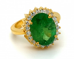Tsavorite Garnet 6.08ct Diamonds Solid 22K Yellow Gold Cocktail Ring,Certif