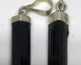 Natural Black Tourmaline 2 Pcs 925 Silver Pendants