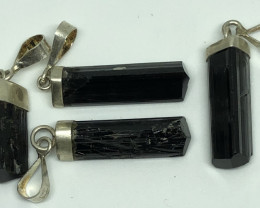 Natural Black Tourmaline  925 Silver Pendants