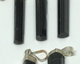 Natural Black Tourmaline 5 Pcs 925 Silver Pendants