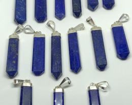 Natural Lapis Lazuli 15 Pcs 925 Silver Pendants