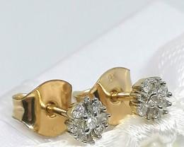 9kt. Gold Diamond Cluster Earrings 0.10 TCW