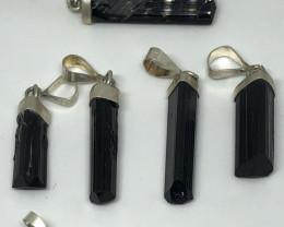 Natural Black Tourmaline 6 Pieces 925 Silver Pendants