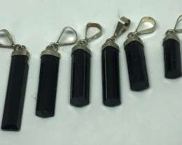 Natural Black Tourmaline 6 Piece 925 Silver Pendants