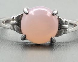 10.59 Crt Natural Rose Quartz 925 Silver Ring