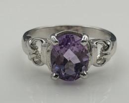 15.09 Crt Natural Amethyst 925 Silver Ring