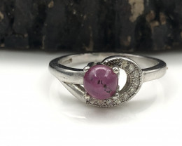 12.77 Crt Natural Ruby 925 Silver Ring