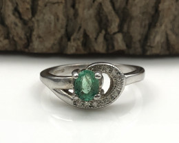 12.48 Crt Natural Emerald 925 Silver Ring