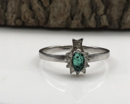6.60 Crt Natural Emerald 925 Silver Ring