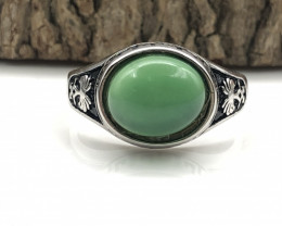 27.42 Crt Natural Green Onyx 925 Silver Ring