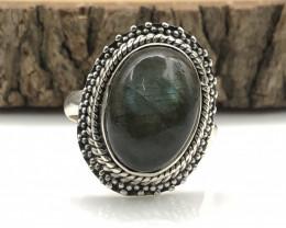 27.01 Crt Natural Labradorite Handmade 925 Silver  Ring