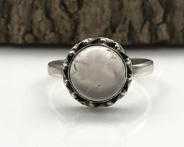 12.42 Crt Natural Rose Quartz Handmade 925 Silver  Ring