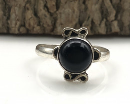 12.43 Crt Natural Onyx Handmade 925 Silver  Ring