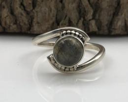 12.45 Crt Natural Labradorite Handmade 925 Silver  Ring