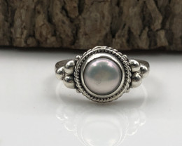 11.83 Crt Natural Fresh Water Pearl Handmade 925 Silver  Ring
