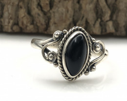 11.95 Crt Natural Onyx Handmade 925 Silver  Ring