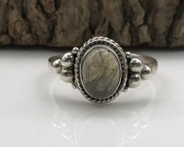 11.99 Crt Natural Labradorite Handmade 925 Silver  Ring