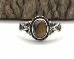 11.21 Crt Natural Tiger Eye Handmade 925 Silver  Ring