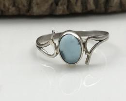 4.47 Crt Natural Blue Calcite Handmade 925 Silver  Ring