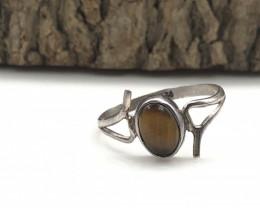 4.50 Crt Natural Tiger Eye Handmade 925 Silver  Ring