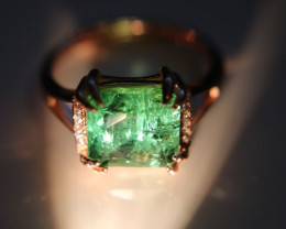 Green Tourmaline 3.60ct Rose Gold Finish Solid 925 Sterling Silver Ring