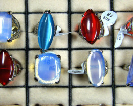 RESELLERS DEA L 8 LARGE MAN MADE GEMSTONE RINGS AAT 762