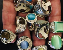 12 man made synthetic rings mixed sizes AAT 766