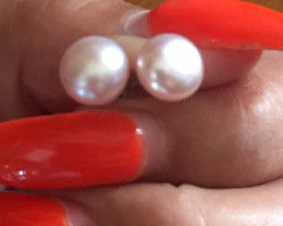 RC Cute 8mm Champagne Color Pearl Earring GT 80--1