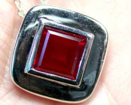 Clean Red Ruby Silver pendant ,Synthetic