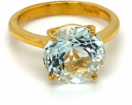 Aquamarine 4.50ct Solid 22K Yellow Gold Solitaire Ring